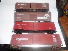 4- 50' plugdoor boxcars.  Wabash,Alaska,U.P.,Conrail, HO scale