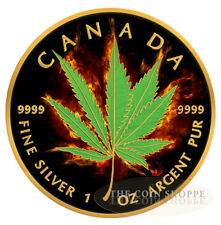 BURNING MARIJUANA HYBRID 2017 1 oz Silver Maple Leaf Coin Ruthenium and 24K Gold
