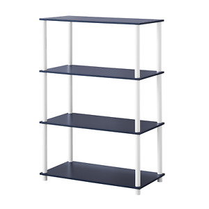 Modern 4-Shelf No-Tools Shelf Open Back Bookshelf Perfect for Cube Storage Bins