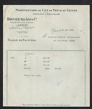 """LYON (69) USINE de LITS en fer & en cuivre """"BOUVIER Fils Ainé"""" en 1931"""