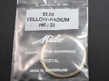 Mido Vintage 32mm Watch Crystal Yellow Radium Tension Ring Ref#21 Waterproof NOS
