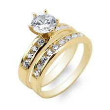 10K/14K Yellow Gold Duo 1.0ct Round CZ Channel Set Ring Size 4-10