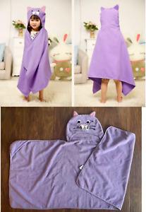 pre-own great cond. PURPLE KITTY CAT MICROFIBER Hooded Poncho Bath Beach Towel