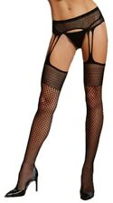 Black Sexy Thigh High Fishnet Pattern Stockings Pantyhose Suspender Garter