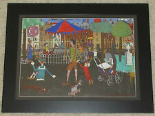 SIGNED VINTAGE FRENCH? NAIVE STREET SCENE CAROUSEL FIGURES CITYSCAPE PAINTING