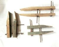3 Vintage Early Wood Vice Clamp Lot w/ Square Head Bolts / Unbranded Homemade?