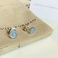 David Yurman $425 Silver Chatelaine Stud Earrings Blue Chalcedony Authentic NEW