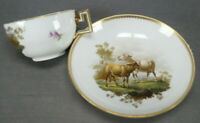 Meissen Marcolini Hand Painted Sheep Landscape & Gold Tea Cup & Saucer 1774-1817