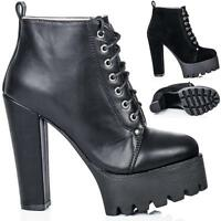 NEW WOMENS BLOCK HEEL CLEATED SOLE LACE UP PLATFORM ANKLE BOOTS