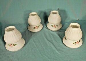 """ANTIQUE SET OF 4 HAND PAINTED MILK GLASS LIGHT SHADES-2 1/4"""" FIT"""