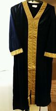 NEW WOMENS LONG SATIN QUILTED VELOUR ROBE  ZIP FRONT NAVY ☆LARGE ☆ NEW