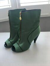 MISS SIXTY Green Open Toe Heels Shoes UK4 / EUR37