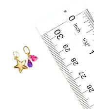 Authentic amethyst topaz sapphire gemstone solid 14k gold puffy star charm 9mm