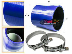 """BLUE Silicone Reducer Coupler Hose 3""""-2.75"""" 76 mm-70 mm + T-Bolt Clamps Chy"""