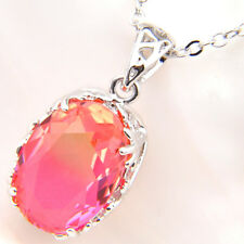 Handmade Jewelry Pink Bi-Colored Tourmaline Gemstone Silver Necklace Pendants