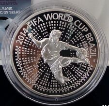 Belarus 100 Rubles 2013 The 2014 FIFA World Cup. Brazil 5 Oz Silver PP Proof**