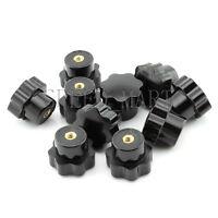 10pcs Black Plastic M6x25mm Thread Seven Star Shaped Head Clamping Nuts Knob