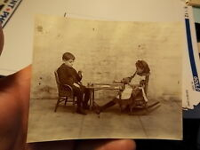 VINT SNAPSHOT PHOTO, BOY & GIRL PLAYING CARDS WITH POKER CHIPS