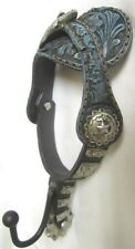 Western Ceramic Coat Hook Decoration- Fancy Spur and Strap Blue Style - New