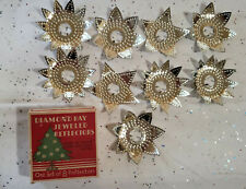 Antique Christmas Diamond Ray Jeweled/Punched Reflectors 1927 8 & 1 Iob