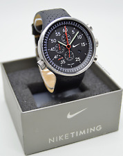 VERY RARE: Nike Heritage Alarm Chrono Black Leather Watch WC0054-001 *BNIB*