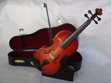 "VIOLIN Miniature 7"" Long Wood With Case & Stand Great Music Gift Brand NEW"
