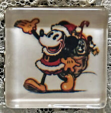 """MICKEY MOUSE Santa Claus 1"""" Square Glass BUTTON Vintage Christmas Card Art 1930s"""