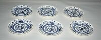 """6 Japan China Blue Onion Inner Band 6"""" Diameter Small Plates / Saucers"""
