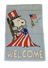"PEANUTS SNOOPY PATRIOTIC SEWING AMERICAN FLAG WELCOME~SIZE 12"" x 18""~NEW"