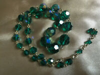 VINTAGE Green Aurora Borealis Graduated One Strand Necklace #3