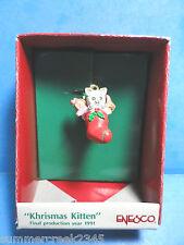 Enesco Miniature Ornament KHRISMAS KITTEN 1991