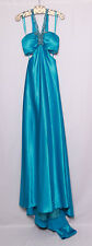 ME PROM BY MOONLIGHT TURQUOISE SILVER BEADED SEQUIN SATIN PROM FORMAL GOWN 0