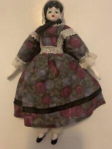 "China Head Doll 8"" Shackman Reproduction Japan Cloth Body Black Hair Dressed"