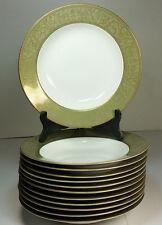 """Lot of 12 Sango China Japan Versailles 3632 Gold Green 8.5"""" Rimmed Soup Bowls"""