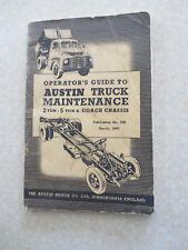 Original 1950 Austin 3 & 5 ton trucks & coach maintenance manual