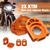 Pair CNC Rear Axle Spindle Adjuster Blocks For KTM 125 200 250 300 EXC 00-18