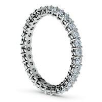 1 Ct Round Cut Diamond Eternity Wedding Anniversary Band Ring 14K White Gold FN