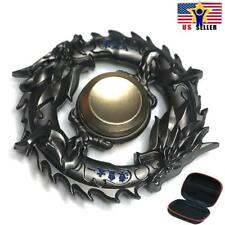Case + Chinese interlocking Dragon Ball Circle Solid Metal Fidget Spinner Black