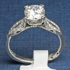 Platinum Diamond Engagement Ring Tacori 2573 Vintage Style size 6.5 diamond acc