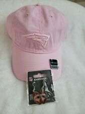 New England Patriots Women's Pink Ball Cap And  Earrings.