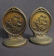 Antique Bradley & Hubbard Cast Iron B&H Nautical Clipper Ship Book Ends Bookends