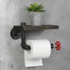 New ListingIndustrial Toilet Paper Tissue Roll Rack/Holder Rustic Wooden Shelf Bathroom