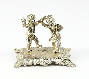 German .800 Silver Miniature Figurine on footed base; Boy & Girl Dancing c.1920