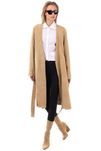 RRP €1255 VINCE. 4 Suede Leather Overcoat Size M Silk Lined Belted Y-Neck