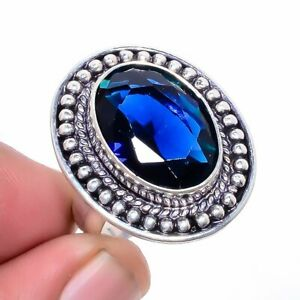 Madagascar Blue Sapphire 925 Sterling Silver Jewelry Ring s.8 W2453
