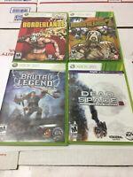 Lot of 4 Xbox 360 Games Borderlands 1 & 2, Brutal Legend, Dead Space 3