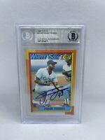 Frank Thomas Signed 1990 Topps #414 Rookie Card Beckett White Sox HOF 9