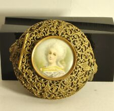 Antique brass lidded pill box painted cameo excellent