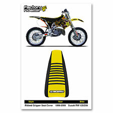 1999-2000 SUZUKI RM 125-250 Black/Yellow/Black RIBBED SEAT COVER BY Enjoy MFG