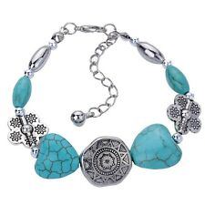 Silver Plated Handmade Turquoise Bracelet Bangle Beads Jewelry For Women